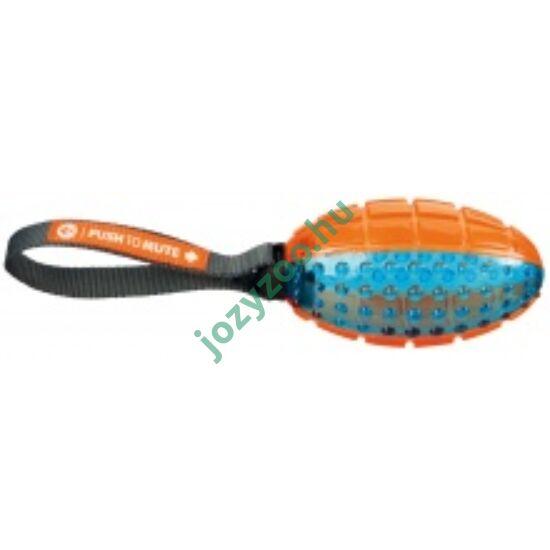 TRIXIE Játék Push to mute rugby labda kötéllel 12cm/27cm narancs/kék